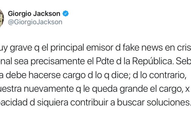 "Giorgio Jackson acusa a Piñera de ser ""el principal emisor de fake news"" en la crisis social"