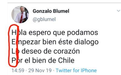 HELP, el dramático mensaje del ministro Blumel en Twitter (FALSO)