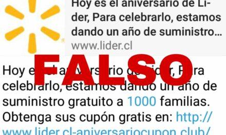 Es falso que el supermercado Líder celebra aniversario regalando suministro gratuito a 1000 familias