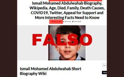 Difunden fotografía de un niño que supuestamenre murió por CoVid19 en UK, pero falleció el 2017