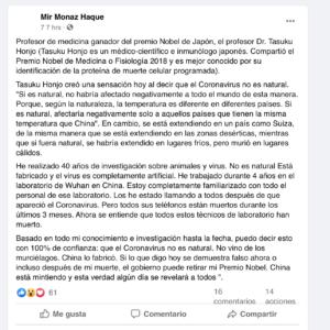 Publicación de origen en Facebook