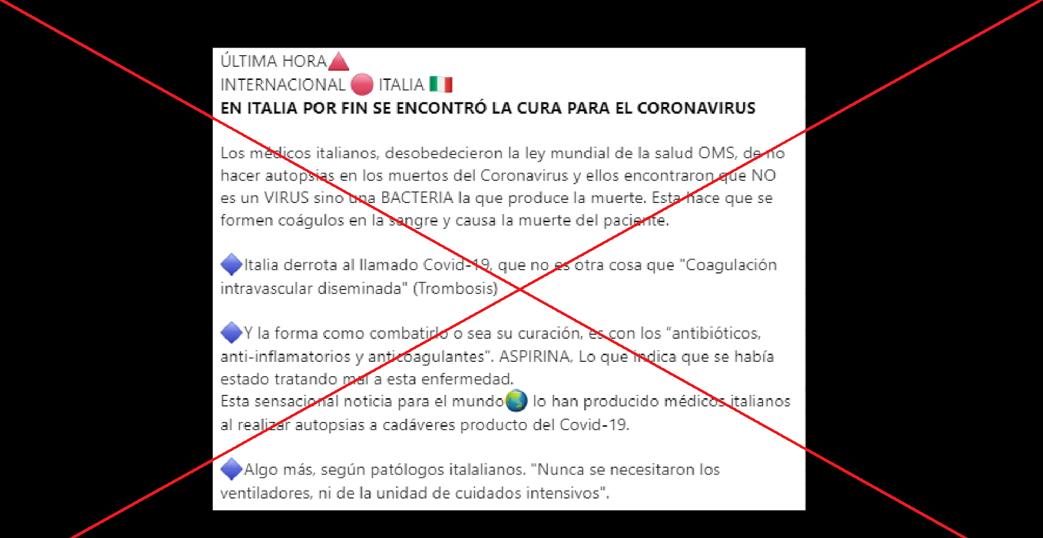 Es falsa la versión de que Italia encontró cura para la CoVid19