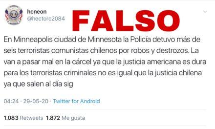 Es falso que seis terroristas chilenos fueron detenidos por protestas en Minneapolis