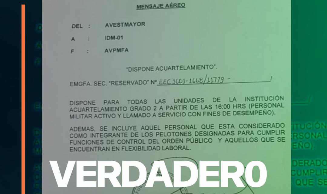 FACH confirma veracidad de documento que dispone acuartelamiento grado 2