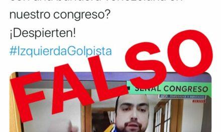 Es falso que un diputado portaba una bandera venezolana mientras se debatía el retiro del 10% de las AFP