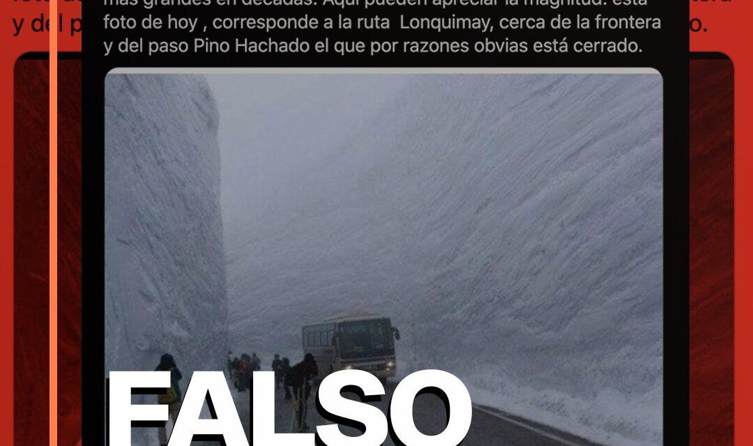 Embajador Monckeberg difunde foto equivocada haciéndola pasar por la ruta de Lonquimay nevada