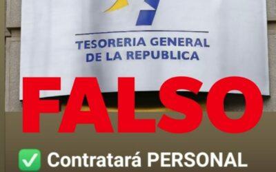 Tesorería General de la República advierte de falsa oferta de empleo