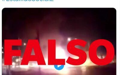 No, una tanqueta no fue incendiada en las protestas de este martes