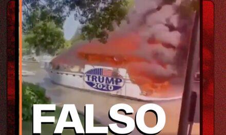 Es falso que una embarcación ardiendo lleva un logo de Trump 2020