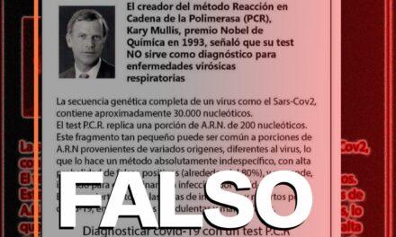 Es falso que el creador del examen PCR negara su efectividad para detectar un virus