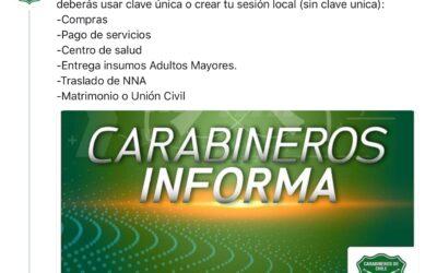 Carabineros anuncia cambio en proceso para solicitar permisos temporales en cuarentena