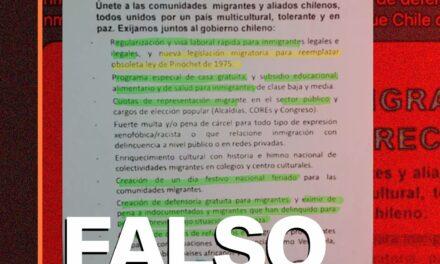 Javier Olivares difunde falso folleto con petitorio de inmigrantes en Chile
