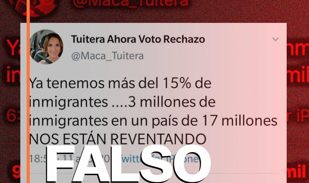 Es falso que en Chile haya una población de tres millones de inmigrantes