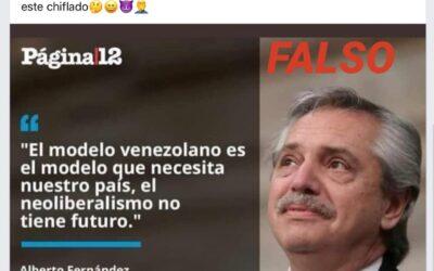 Es falso que Alberto Fernández haya dicho que el modelo venezolano es el mejor para Argentina