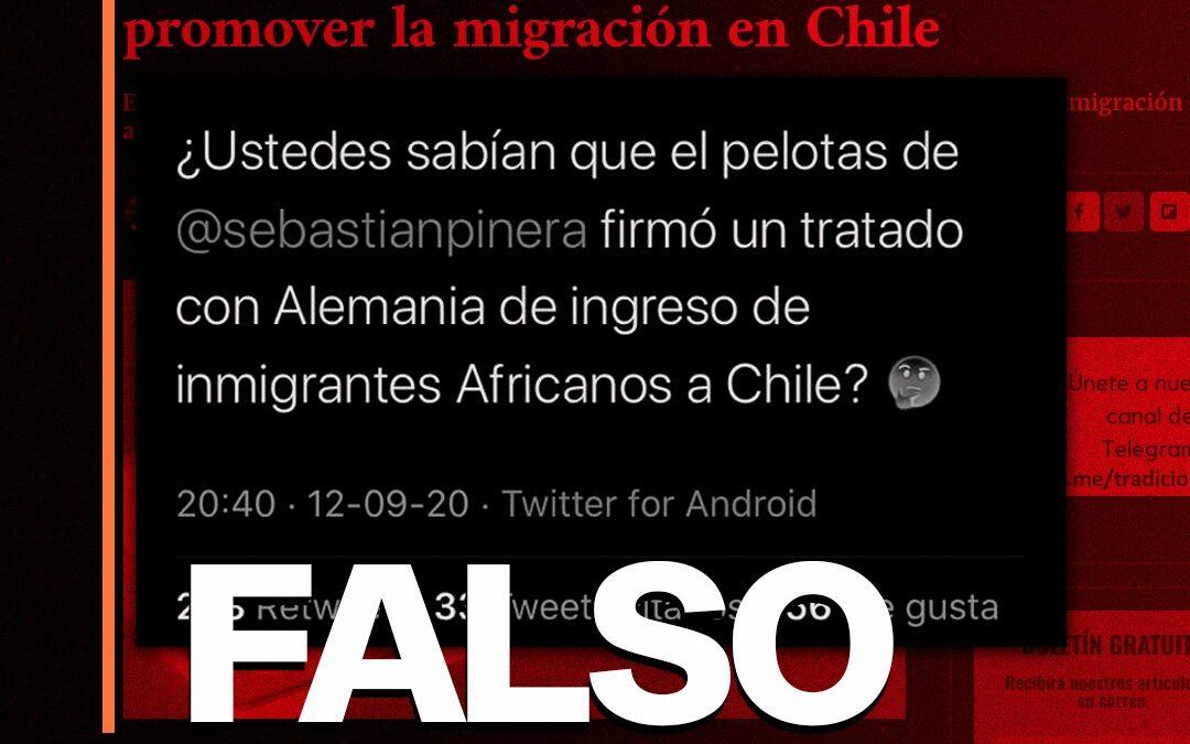 Es falso que Chile y Alemania firmaron un tratado para promover la llegada de inmigrantes africanos
