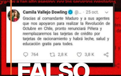 Es falso que Camila Vallejo agradeció la intervención de Nicolás Maduro en el estallido social