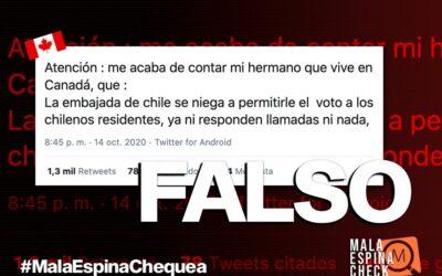 Es falso que la Embajada de Chile en Canadá está prohibiendo votar a los chilenos residentes para el plebiscito