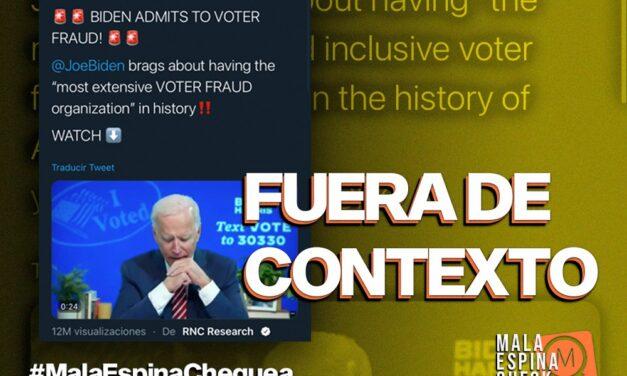 ¿Joe Biden admite un fraude en las elecciones de EEUU? Es un video sacado de contexto