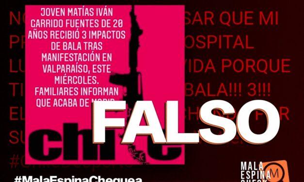 Es falso que un joven murió durante las protestas en Valparaíso