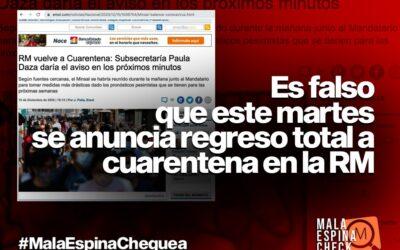 Es falso que este martes se anuncia regreso a cuarentena en la Región Metropolitana
