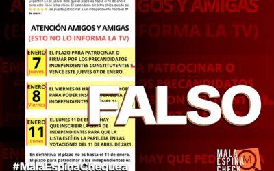 Es falso que el plazo para patrocinar a candidatos independientes a constituyentes es hasta el 7 de enero