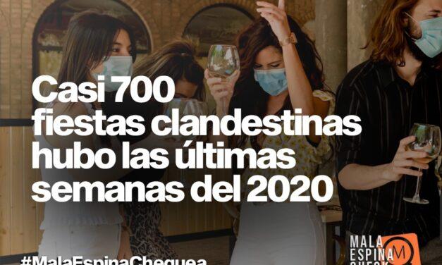 Casi 700 fiestas clandestinas hubo las últimas tres semanas del 2020