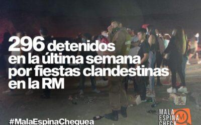 En la última semana hubo 296 detenidos por fiestas clandestinas en la RM