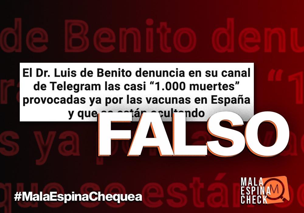 La noticia falsa que afirma que en España ha habido 1.000 muertes provocadas por la vacuna contra la COVID-19