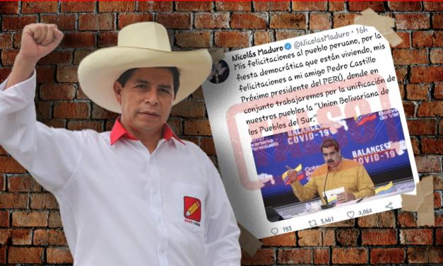 Maduro no felicitó a Pedro Castillo como el próximo presidente de Perú