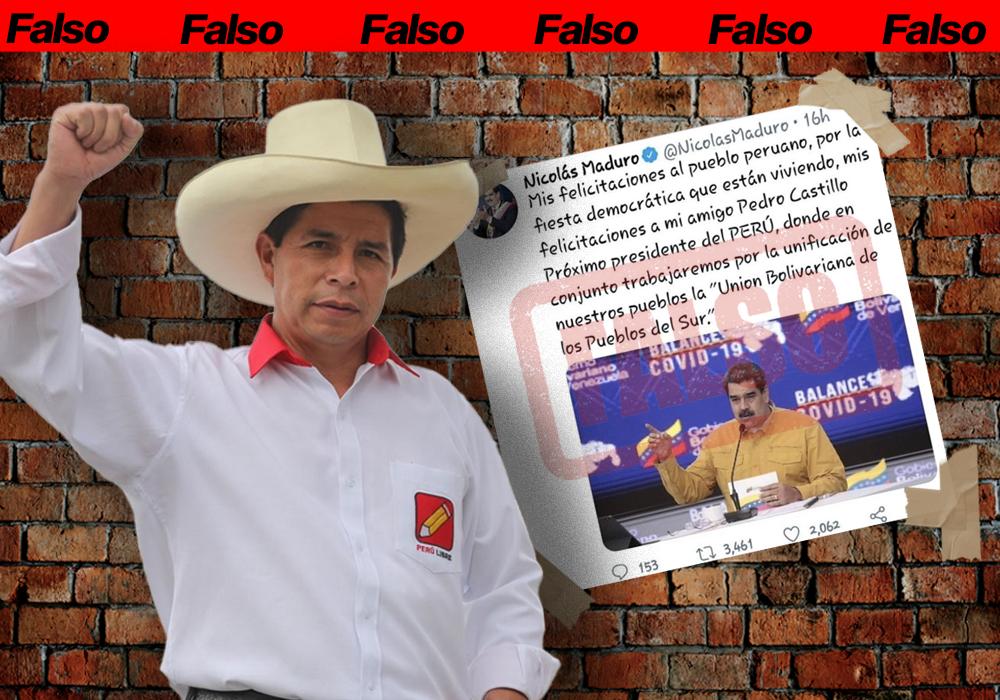 Maduro no felicitó a Pedro Castillo