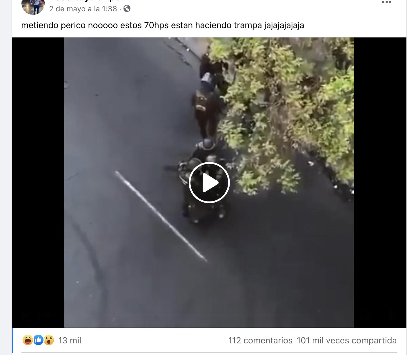 Pantallazo en facebook