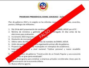 Programa presidencial de Daniel Jadue es falso