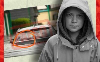 Foto de un auto inundado con adhesivo que insulta a Greta Thunberg es falsa