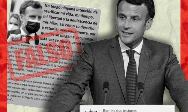 Es falso que Macron haya dicho que «esta vez se queda usted en casa, no nosotros»