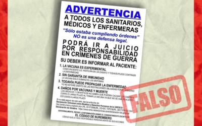No, el personal de salud que administra la vacuna contra COVID-19 no podría ir a juicio «por responsabilidad en crímenes de guerra» como dice este cartel